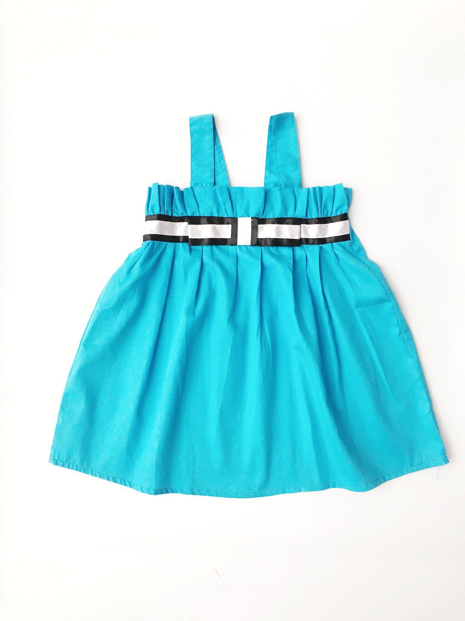 Váy bé gái hai dây màu xanh