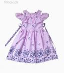 Váy bé gái hoa chân váy boil bèo ngực màu hồng