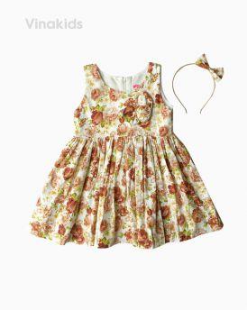 Váy bé gái hoa màu nâu kèm bờm (1-7 tuổi)