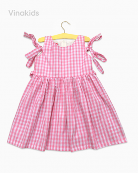 Váy bé gái kẻ caro màu hồng