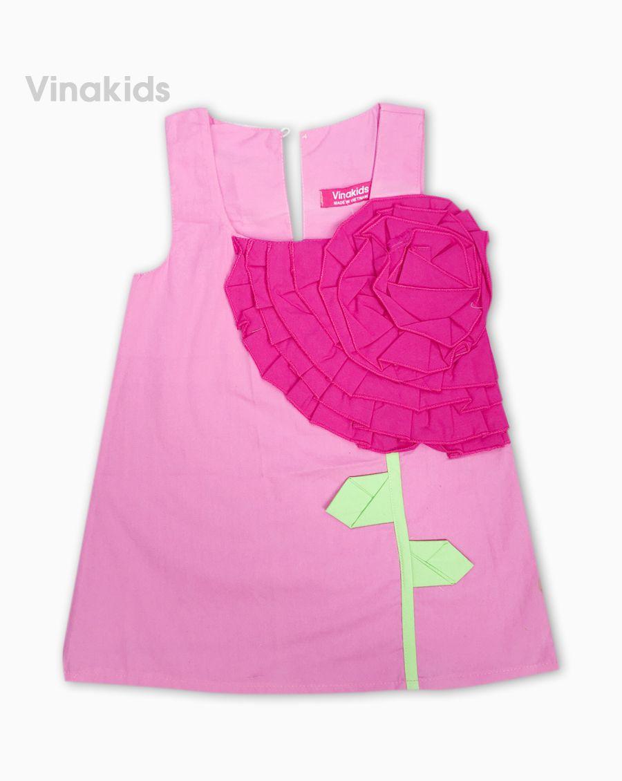 Váy bé gái kết hoa màu hồng phấn (1-7 tuổi)