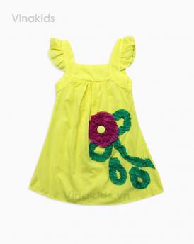 Váy bé gái kết hoa vải boil màu vàng