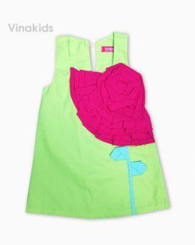Váy bé gái kết hoa màu xanh lá (1-7 tuổi)
