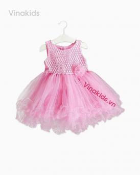 Váy bé gái ren hoa voan cuốn màu hồng phấn