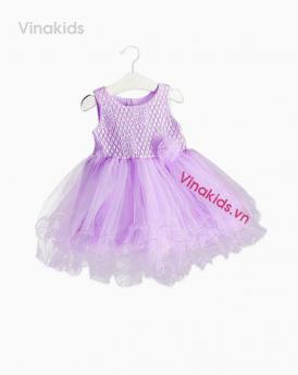 Váy bé gái ren hoa voan cuốn màu tím