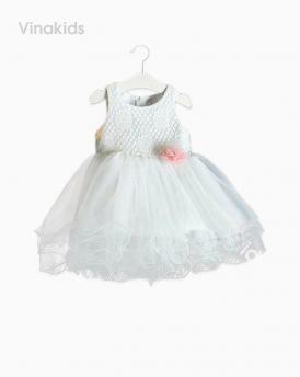Váy bé gái ren hoa voan cuốn màu trắng