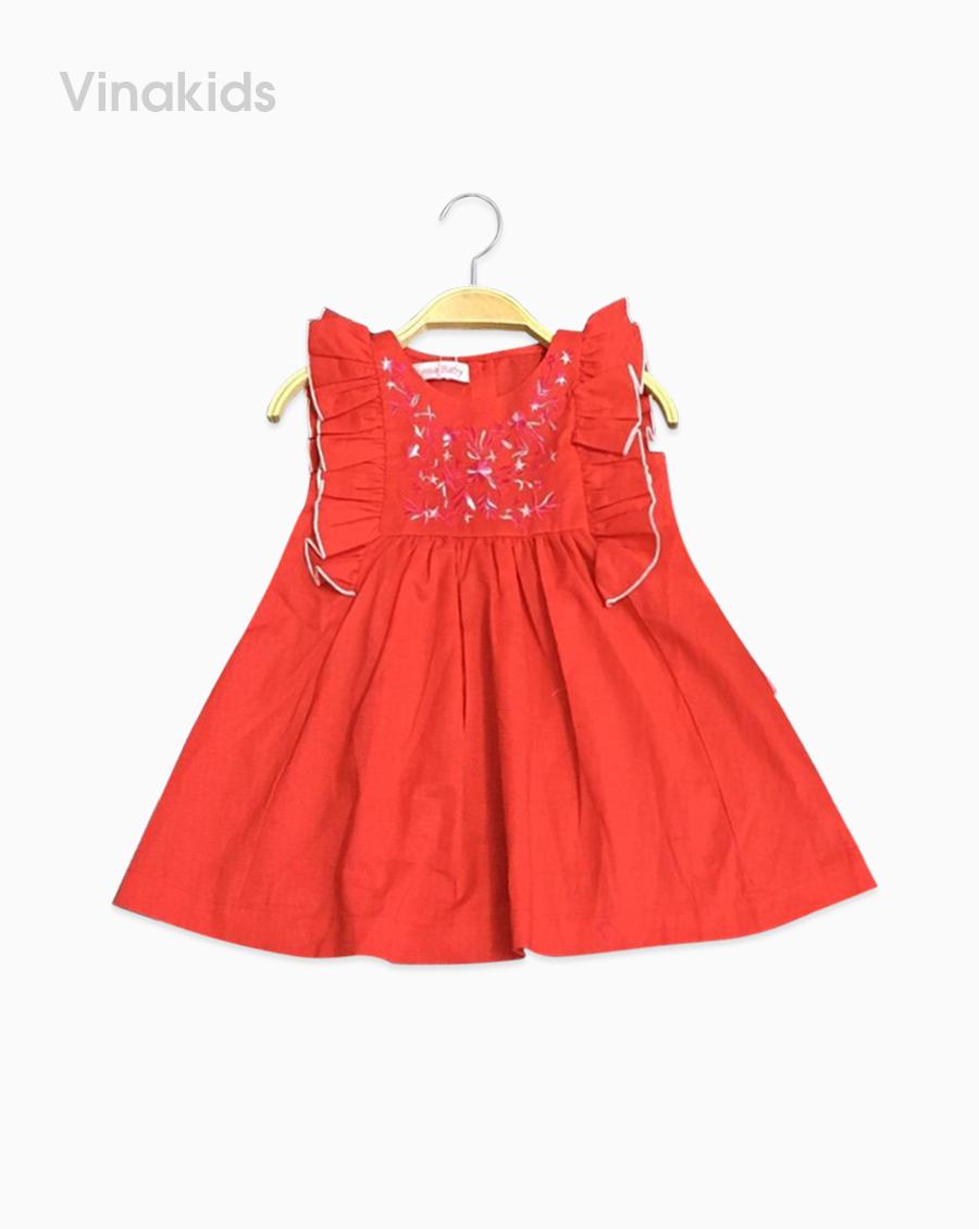 Váy bé gái thêu ngực màu đỏ