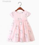 Váy bé gái thiên nga vải boil màu hồng
