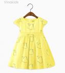 Váy bé gái thiên nga vải boil màu vàng