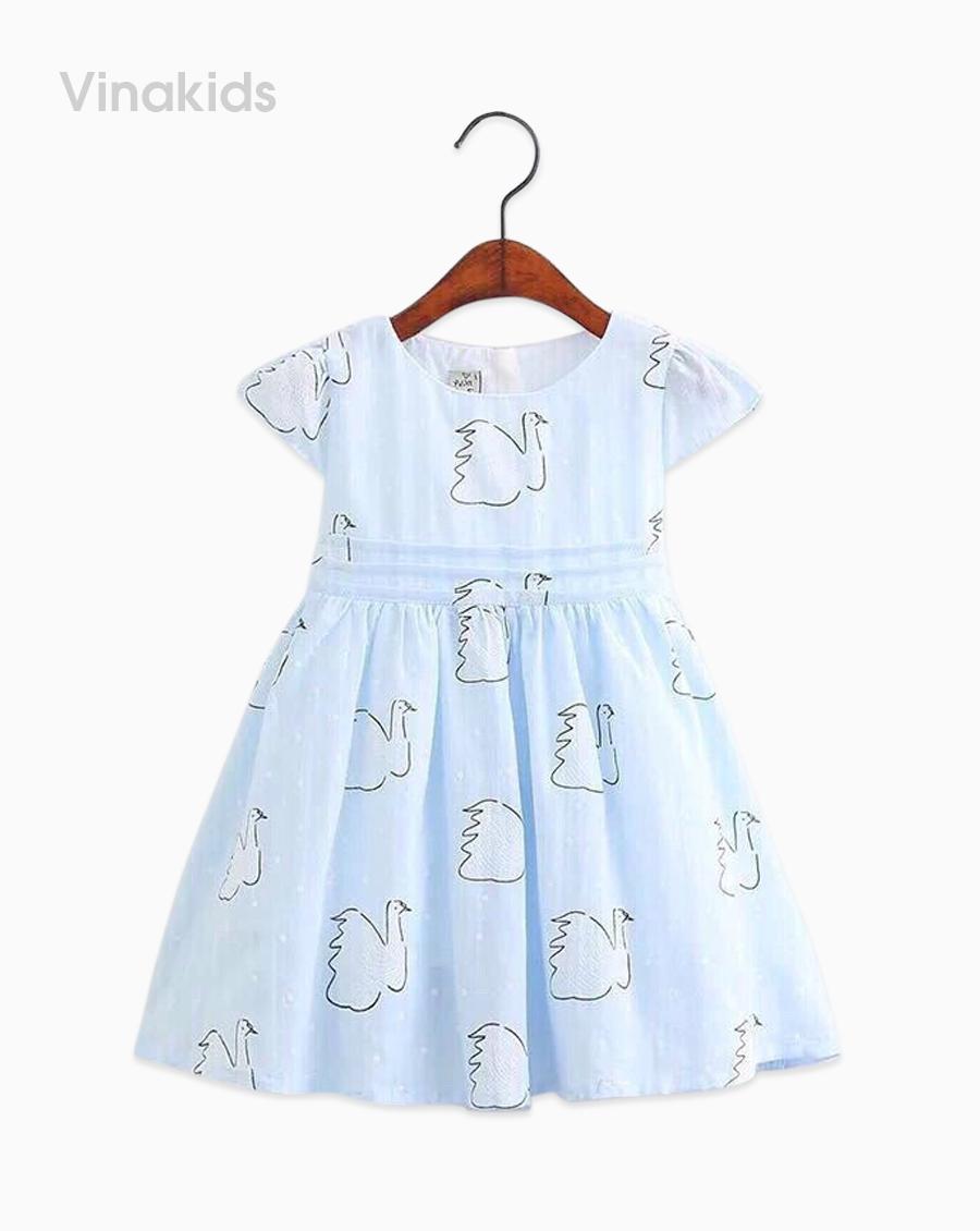 Váy bé gái thiên nga vải boil màu xanh