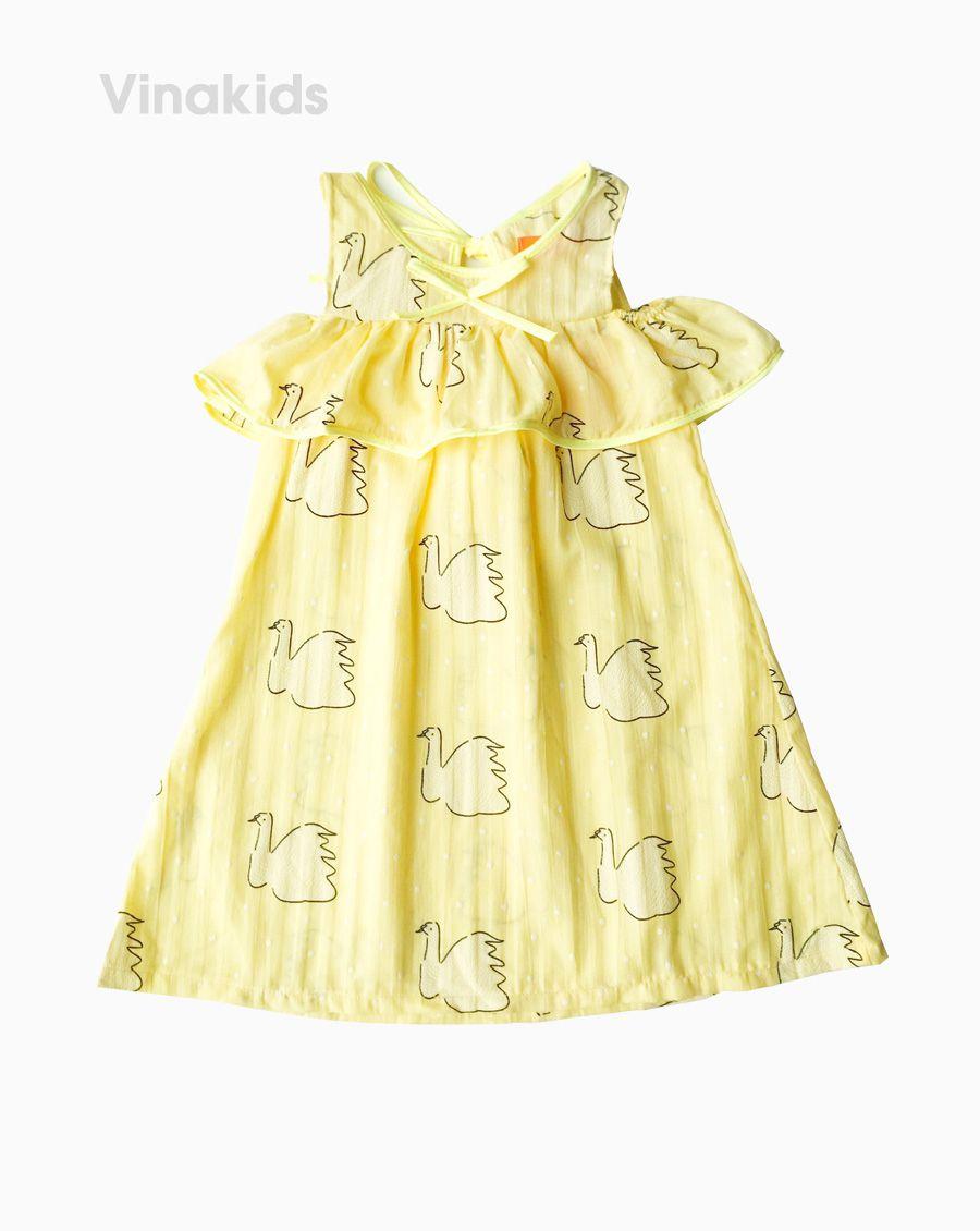 Váy bé gái trễ vai họa tiết thiên nga màu vàng (2-9 tuổi)