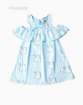 Váy bé gái trễ vai họa tiết thiên nga màu xanh (2-9 tuổi)