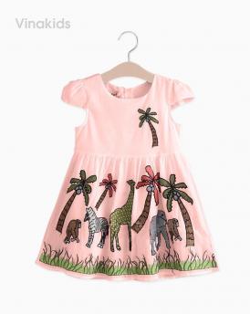 Váy bé gái vải boil con vật màu hồng đất size nhí