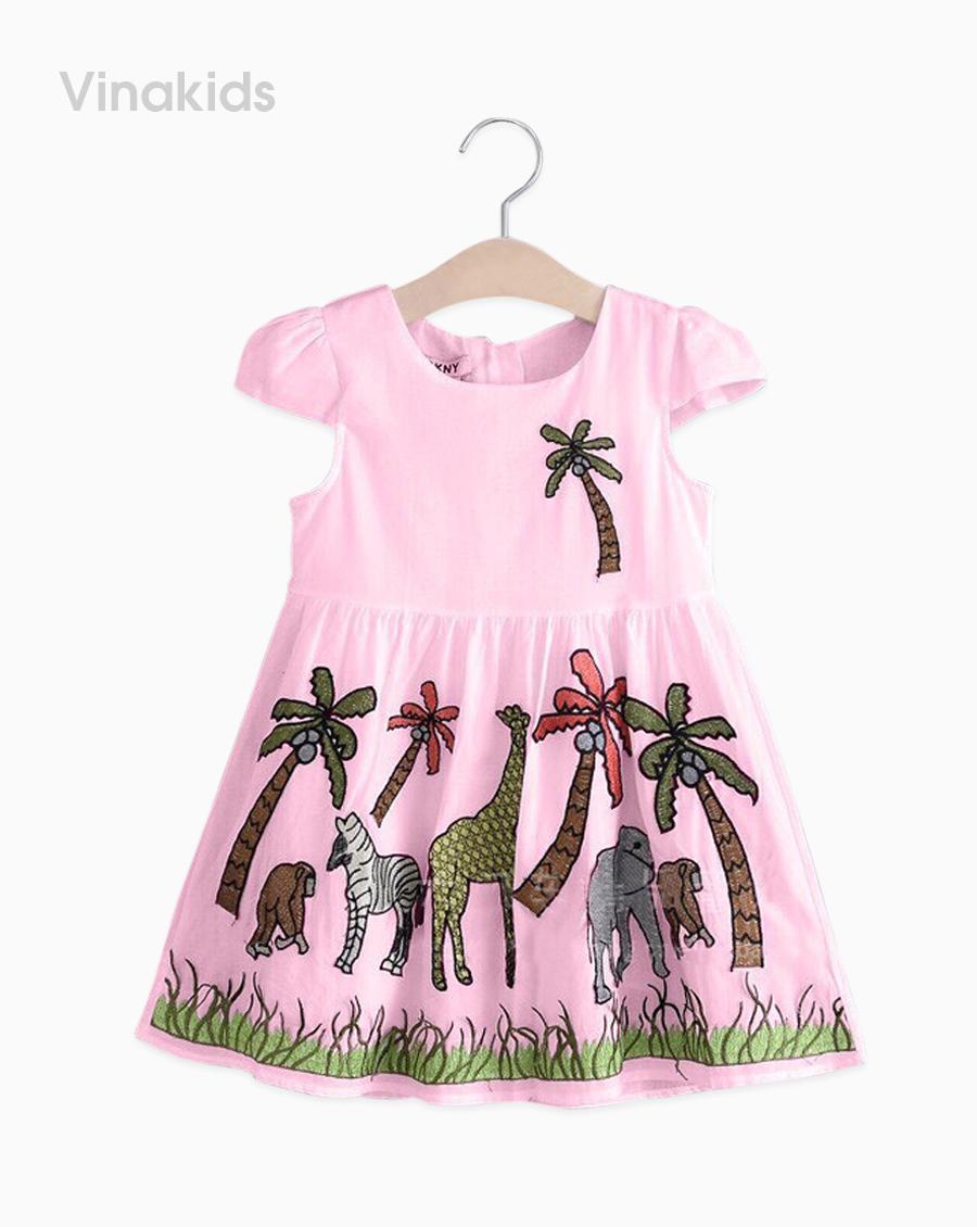 Váy bé gái vải boil con vật màu hồng size đại