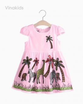 Váy bé gái vải boil con vật màu hồng size nhí
