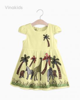 Váy bé gái vải boil con vật màu vàng size nhí