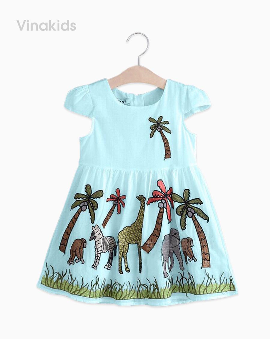 Váy bé gái vải boil con vật màu xanh size nhí