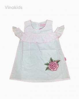 Váy bé gái vai trễ đắp hoa 3D màu hồng