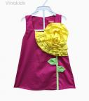 Váy chữ A kết hoa ngực màu hồng sen