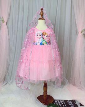 Váy đầm bé gái cao cấp Elsa & Anna kèm áo choàng màu hồng (2-8 tuổi)