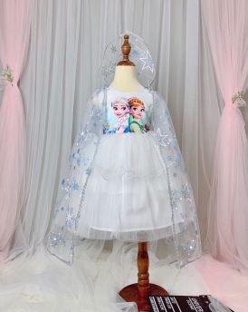 Váy đầm bé gái cao cấp Elsa & Anna kèm áo choàng màu trắng (2-8 tuổi)