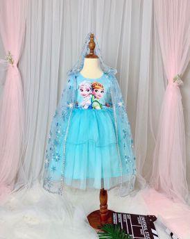 Váy đầm bé gái cao cấp Elsa & Anna kèm áo choàng màu xanh (2-8 tuổi)