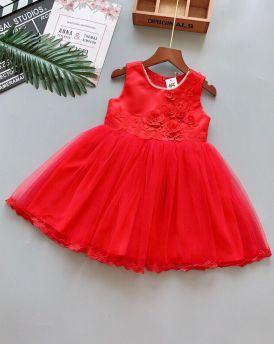 Váy đầm cao cấp hoa 3D cổ viền ngọc màu đỏ (2-7 tuổi)