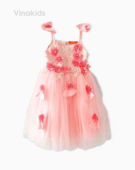 Váy ren bồng hai dây đính hoa màu cam (3-10 Tuổi)