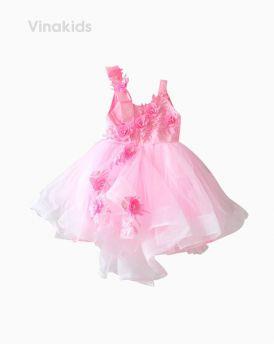 Váy ren bồng hai dây đính hoa màu hồng nhạt (3-10 Tuổi)