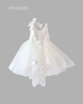 Váy ren bồng hai dây đính hoa màu trắng (3-10 Tuổi)