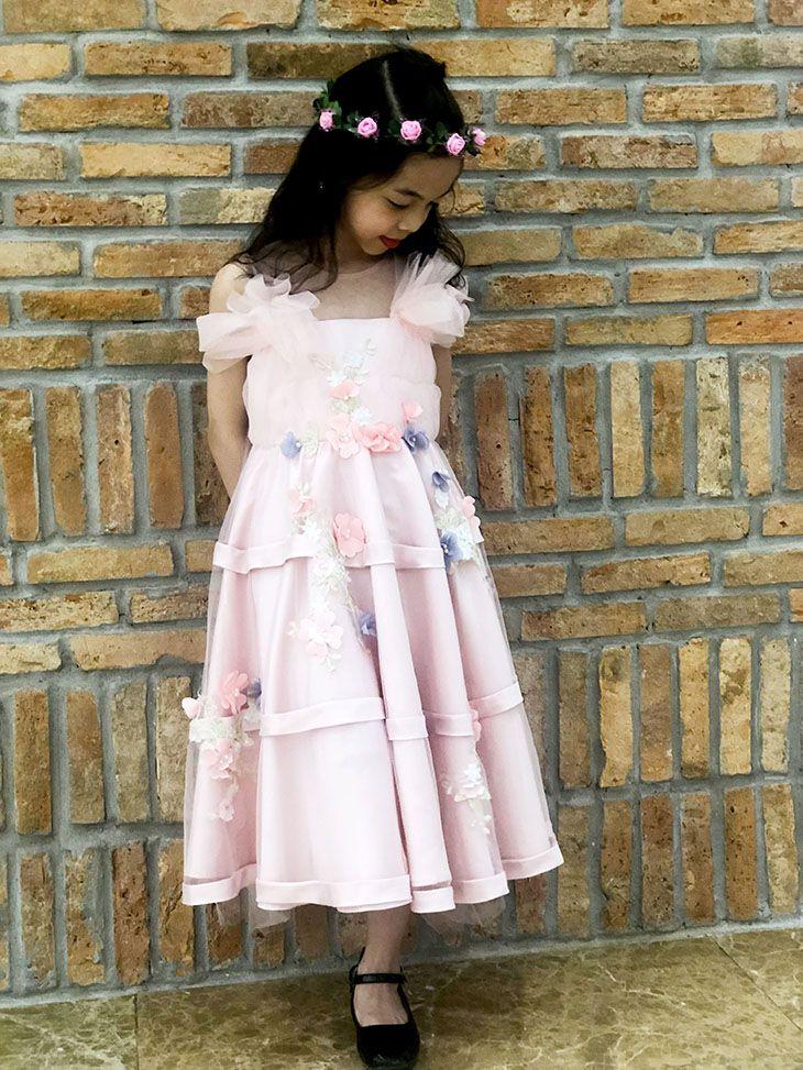 Váy ren bồng vai đính hoa màu hồng phai (3-10 Tuổi)