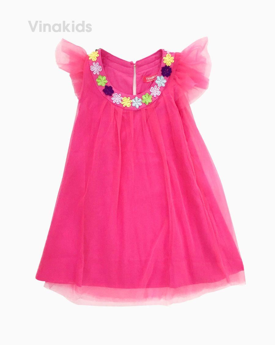 Váy ren cánh tiên bé gái đính hoa cổ màu hồng( 2-5 Tuổi)