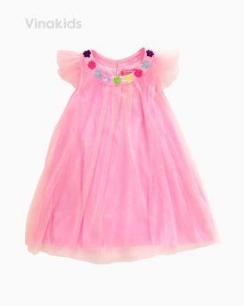 Váy ren cánh tiên bé gái đính hoa cổ màu hồng phấn (8-12 Tuổi)