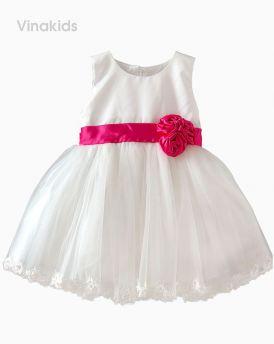 Váy ren cao cấp 3 bông màu trắng (1-8 tuổi)