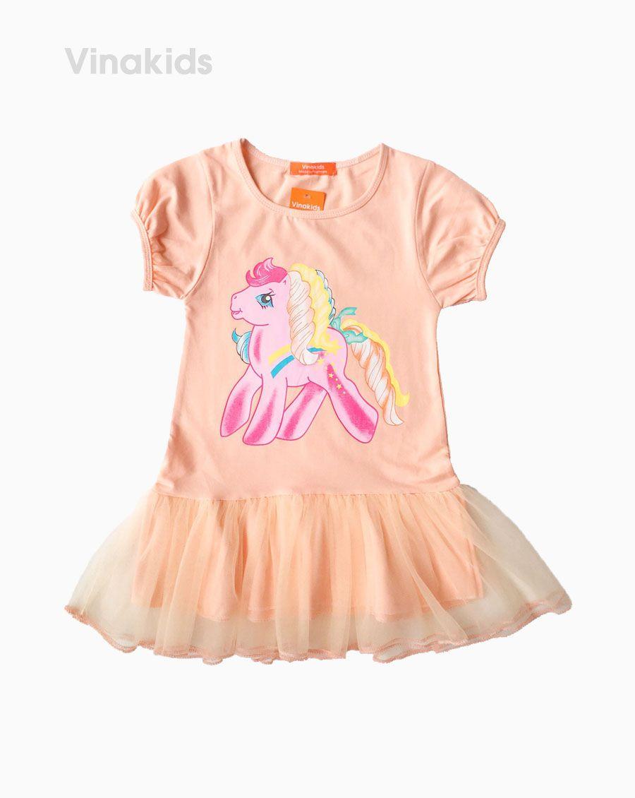 Váy thun cotton hình ngựa Pony màu cam (2-8 tuổi)