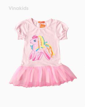 Váy thun cotton hình ngựa Pony màu hồng (2-8 tuổi)