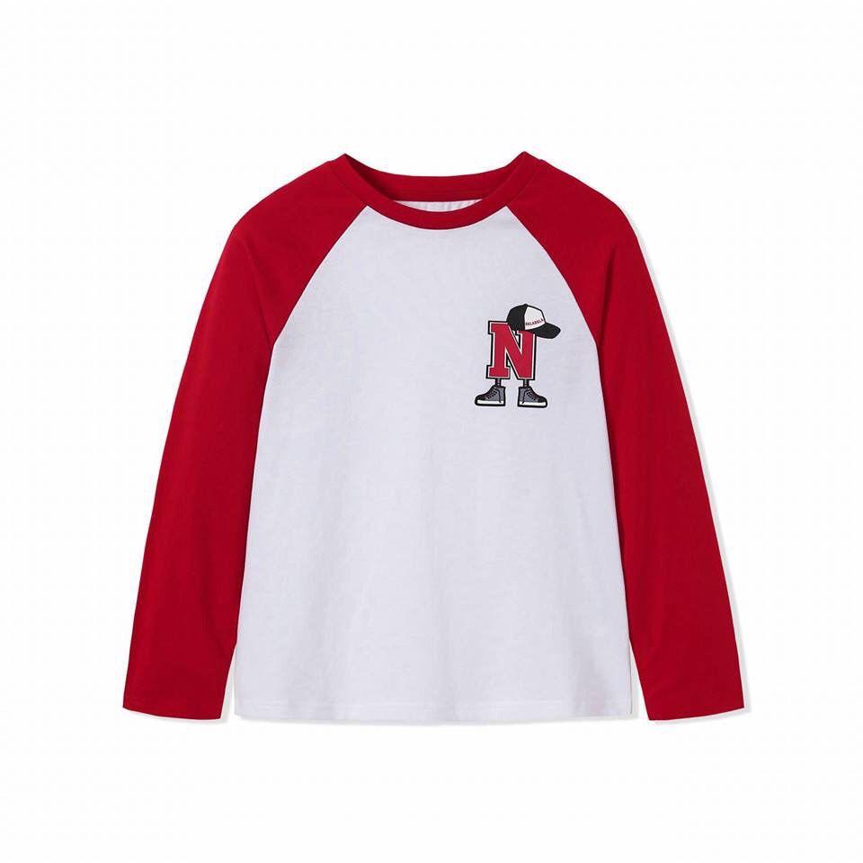 Áo bé trai chữ N màu trắng phối tay màu đỏ đô  9-14 tuổi