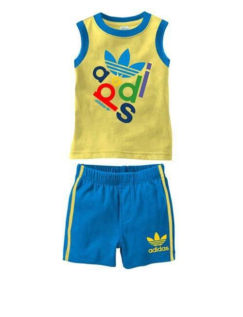 Đồ bộ bé trai adidas màu vàng xanh dương